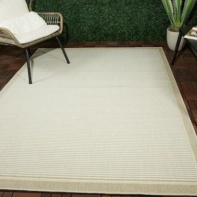 Serling Beige 8 ft. x 10 ft. Striped Indoor/Outdoor Area Rug