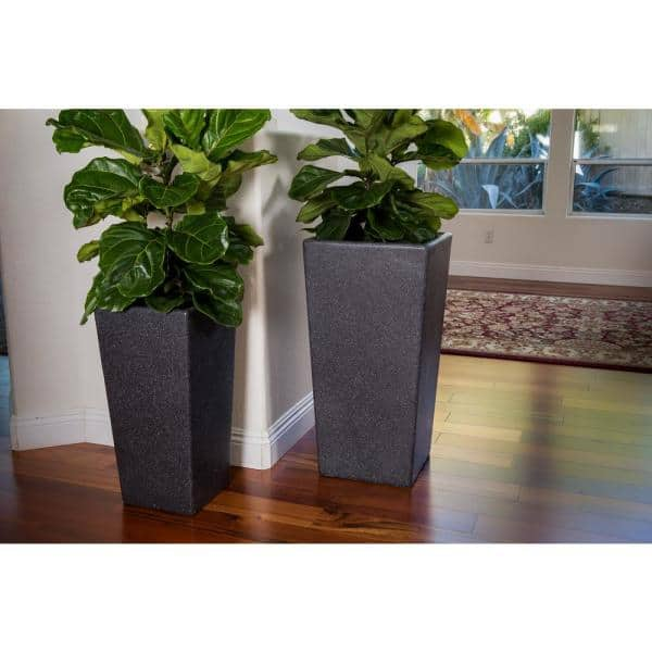 X Brand Xbrand 29 In Tall And 24 In Tall Black Modern Nested Square Flower Concrete Pot Planter Set Of 2 Different Sizes Pl2915bk The Home Depot