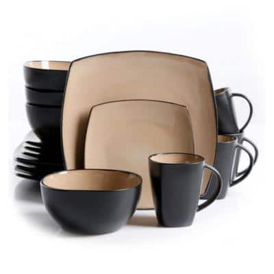 Soho Lounge 16-Piece Casual Black and Taupe Earthenware Dinnerware Set (Service for 4)