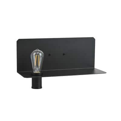 Functional Series 1-Light Black Plug-In Wall Sconce with Shelf LED Bulb Included