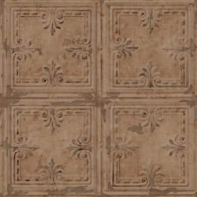 Copper Tin Tile Peel and Stick Wallpaper (Covers 28.18 sq. ft.)