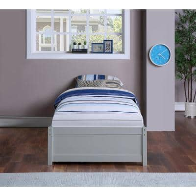 Gray Twin Bed with 2-Storage Drawers