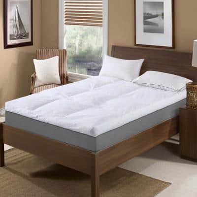 233 Thread Count Cotton Feather Topper 5 in. Medium No Pocket Down California King Mattress Topper