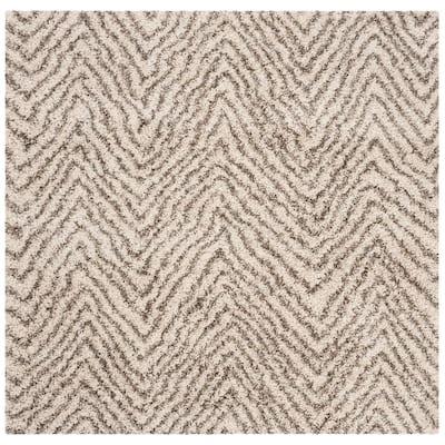 Hudson Shag Ivory/Gray 7 ft. x 7 ft. Square Chevron Striped Area Rug