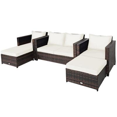 5-Piece Plastic Wicker Outdoor Sectional Set with White Cushions