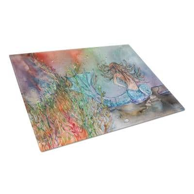 Brunette Mermaid Water Fantasy Tempered Glass Large Cutting Board