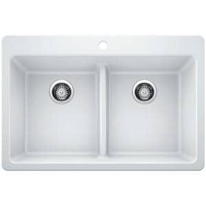 Drop-in/Undermount Granite Composite 33 in. 1-Hole 50/50 Double Bowl Kitchen Sink with Low Divide White