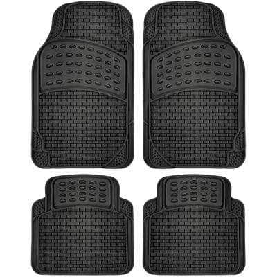 4pc Rubber Floor Mats Universal Fit Front Driver Passenger Seat for Car SUV Van and Truck - Brick Style - Black