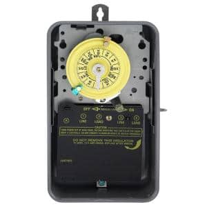T100 Series 40 Amp 24-Hour Outdoor Mechanical Timer with Double Pole Single Throw switching 240 VAC, Gray