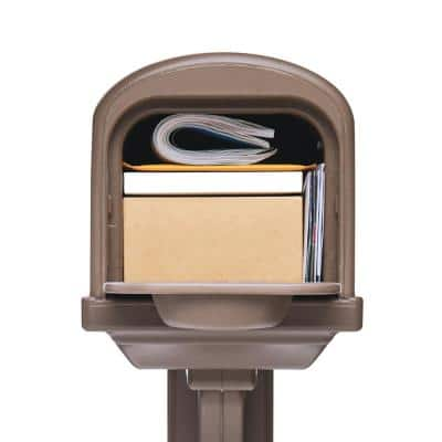 Classic All-in-One, Medium, Plastic, Mailbox and Post Combo, Mocha