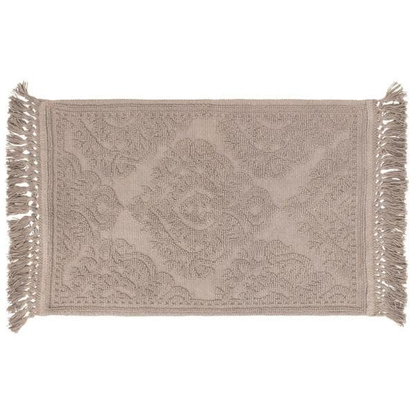 Double layered shower rug . Softened fringe Linen bath mat made of heavy two sided jacquard linen