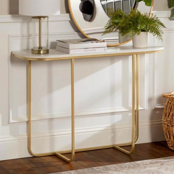 Welwick Designs 44 In White Gold Standard Rectangle Composite Console Table Hd8135 The Home Depot