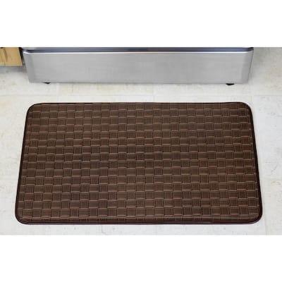 Basket Weave 18 in. x 30 in. Faux Leather Anti Fatigue Gelness Kitchen Mat