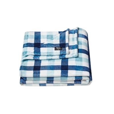Check Magnet 1-Piece Navy Blue Microfiber Full/Queen Blanket