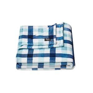Check Magnet 1-Piece Navy Blue Microfiber King Blanket