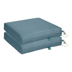 Weekend 17 in. W x 17 in. D x 3 in. Thick Square Outdoor Dining Seat Cushion in Blue Shadow (2-Pack)