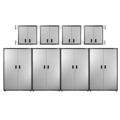Ready to Assemble 102 in. H x 192 in. W x 18 in. D Steel Garage Cabinet Set in Silver Tread (8-Pieces)
