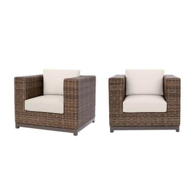 Fernlake Taupe Wicker Outdoor Patio Stationary Lounge Chair with CushionGuard Almond Tan Cushions (2-Pack)