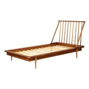 Solid Wood Modern Caramel Twin Spindle Bed