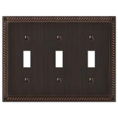 Georgian 3 Gang Toggle Metal Wall Plate - Aged Bronze
