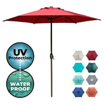 9 ft. Market Outdoor Patio Umbrella with Push Button Tilt and Crank in Red