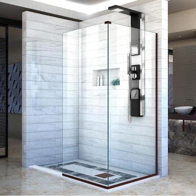 Linea 30 in. x 34 in. x 72 in. Semi-Frameless Corner Fixed Shower Screen in Oil Rubbed Bronze