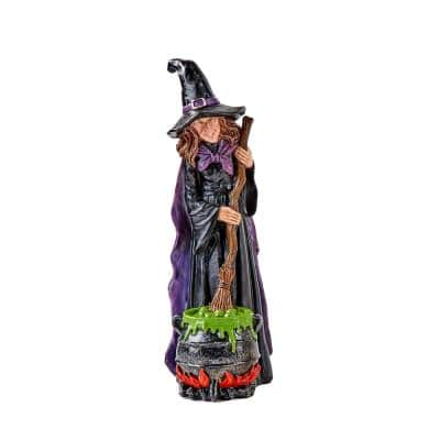 12 in. Witch Stirring Pot Figure