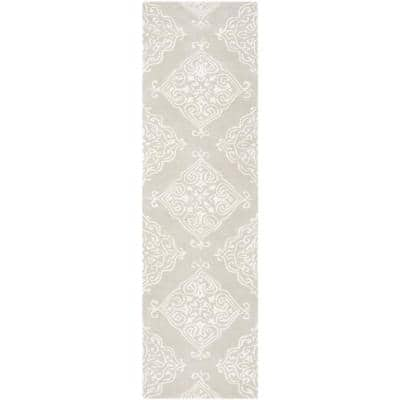 Glamour Silver/Ivory 2 ft. x 8 ft. Floral Runner Rug