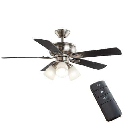 Riley 44 in. Indoor LED Brushed Nickel Ceiling Fan with Light Kit, 5 QuickInstall Reversible Blades and Remote Control