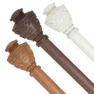 1 inch Adjustable Single Faux Wood Curtain Rod 28-48 inch in Dark Walnut with Veda Finials