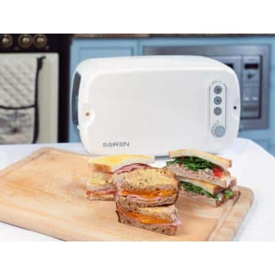 Seren 3-Slice White Wide Slot Toaster with Crumb Tray