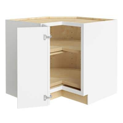 Newport Assembled 36x34.5x24 in Plywood Shaker Lazy Suzan Base Corner Kitchen Cabinet Left in Painted Pacific White