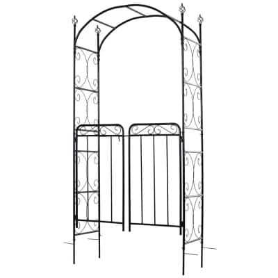 85 in. Decorative Garden Trellis with 2 Latched Swinging Doors, Built for Climbing Vines, Gardens, Weddings, and Ect
