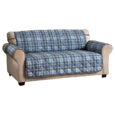 Tartan Plaid XL Navy Polyester Secure Fit on Sofa Cover 1-Piece