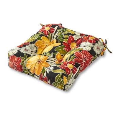 Aloha Floral Black Square Tufted Outdoor Seat Cushion