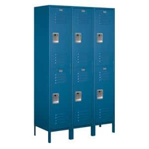 18-52000 Series 6 Compartments Double Tier 54 In. W x 78 In. H x 18 In. D Metal Locker Unassembled in Blue