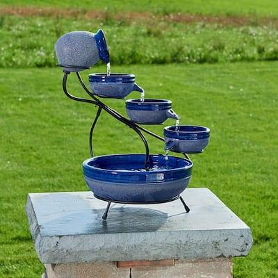 Ceramic Blueberry Solar Cascade Fountain with Rustic Blue Finish