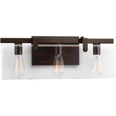 Glayse Collection 3-Light Antique Bronze Clear Glass Luxe Bath Vanity Light