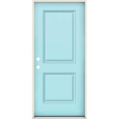 36 in. x 80 in. 2-Panel Right-Handed Square Caribbean Blue Fiberglass Prehung Front Door