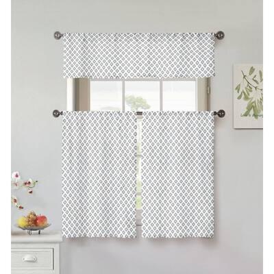 White Floral Rod Pocket Room Darkening Curtain - 56 in. W x 56 in. L (Set of 2)