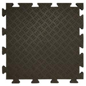 Black 18.5 in. W x 18.5 in. L Sentry Interlocking PVC garage tiles with Edging for All 4 Sides (37.95 sq. ft.)