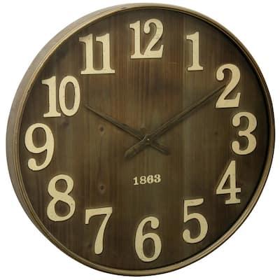Mid-Century Modern Natural, Brass, Clear Analog Clock