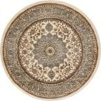 Timeless Aviva Ivory Traditional French Oriental 5 ft. x 5 ft. Round Area Rug