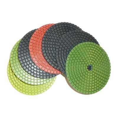 4 in. JHX Wet Diamond Polishing Pads for Granite/Concrete (Set of 7-Pieces) (1-Grit Each Piece)