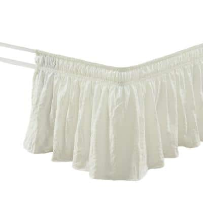 Ruched Ruffle Elastic Easy Wrap Around Bedskirt Ivory Single Queen/King/Cal King