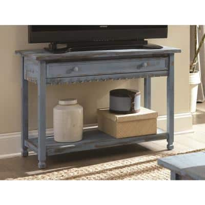 Country Cottage 42 in. Blue Rectangle Wood Console Table with Drawer