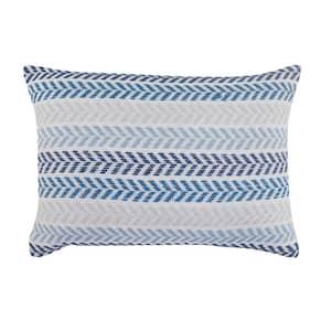 Beach House Blue / Cream Chevron Soft Poly-fill 16 in. x 24 in. Throw Pillow