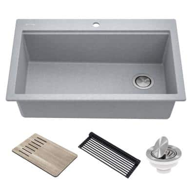 Bellucci Metallic Gray Granite Composite 33 in. Single Bowl Drop-In Workstation Kitchen Sink with Accessories