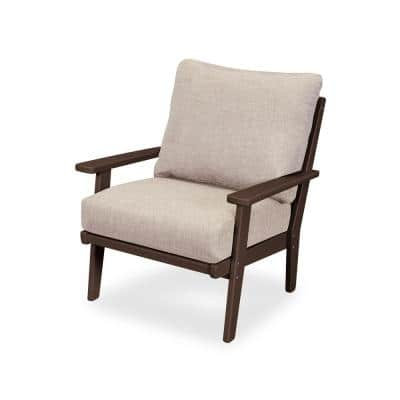 Grant Park Mahogany Deep Seating Plastic Outdoor Lounge Chair with Wheat Cushion