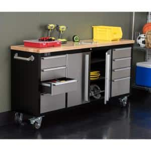 72 in. 8-Drawer Black Rolling Mobile Workbench with Stainless Steel Face